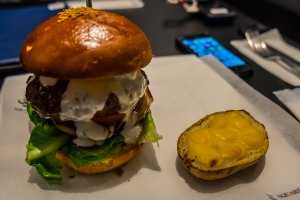 Joshu avocado burger, and a side potato - gourmets will love this one