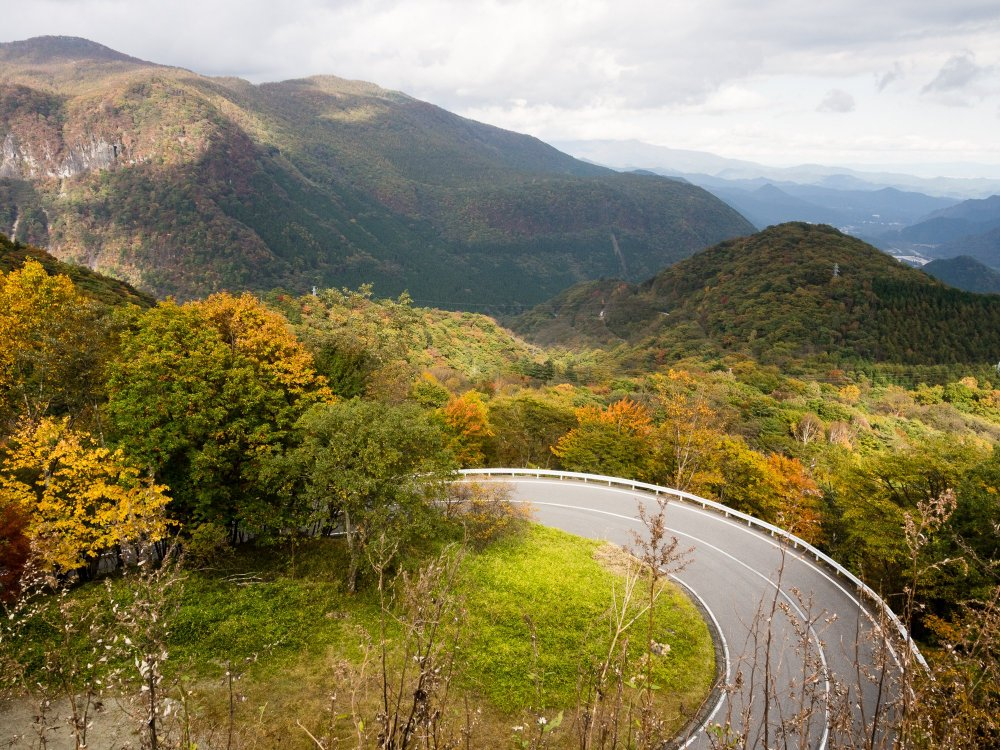 Irohazaka, a road leading from central Nikko to Lake Chuzenji; you can climb it either by bus or by car