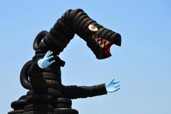 Godzilla made from tyres