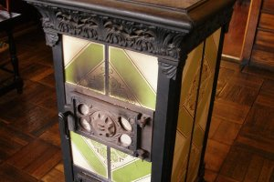 Traditional woodstove heats the station