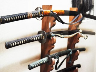 All sizes and shapes of swords in the museum.