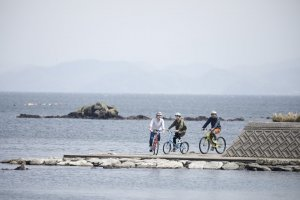 Cycling on the seaside road