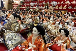 About 250 sets of hina-dolls are donated to this festival every year