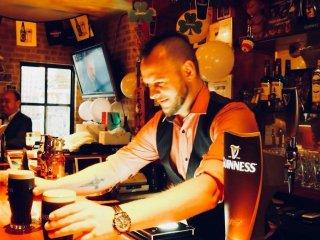 Liam Brennan pouring proper pints