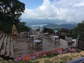 Terrace at the top of the ski lift. Grab a nice cup of coffee at the coffee shop to enjoy the view with.