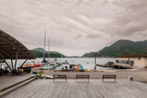 Tsurumaru's private yacht harbour add a rustic feel