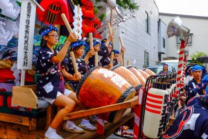 The local children are trained in Taiko drumming at school in the months leading up to the festival
