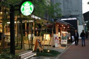 Starbucks Cafe outside Karasuma Kyoto Hotel has Wi-Fi access