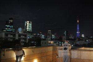 Enjoying the night view of Tokyo skyline