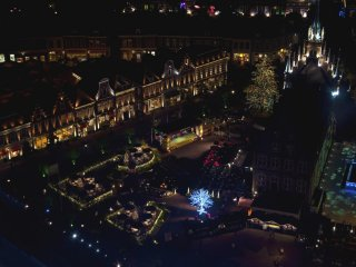 Aerial view of Amsterdam Square from the Domtoren observation deck