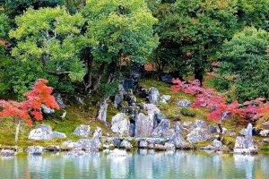 鯉の滝上りを表す石組み・龍門瀑