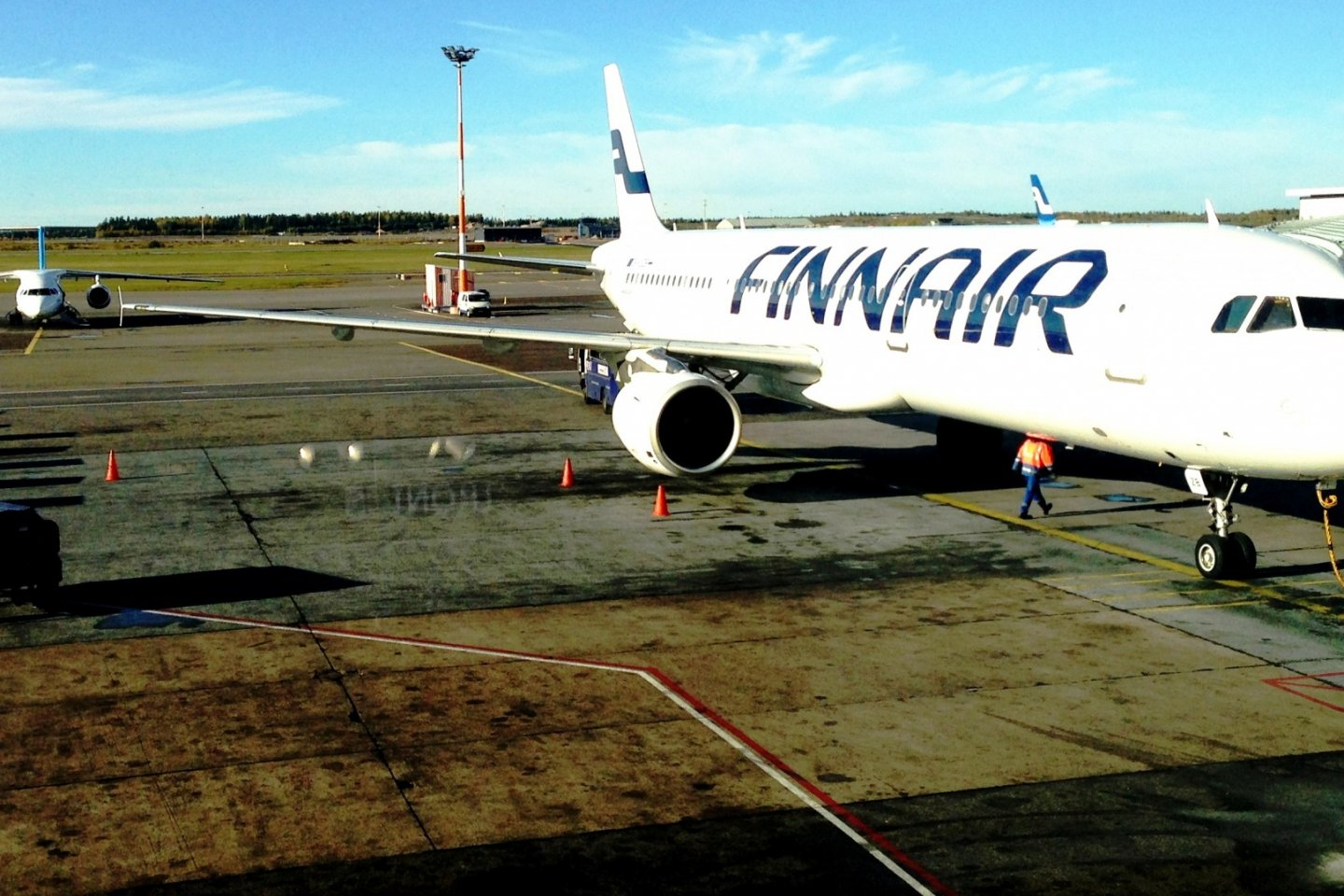 Finnair Airbus and Embraer planes at Helsinki