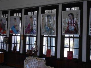 Posters of Japanese women wearing wonderful silk kimonos
