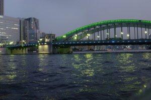 A panoramic spread ofKachidoki Bridge