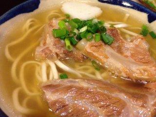 Soft SokiOkinawa Soba with pork so tender the bone can be eaten