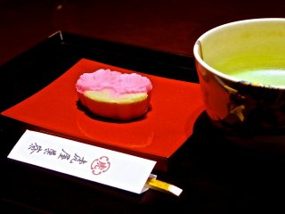 Fresh sweets with green tea