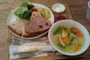 Fresh bread, strawberry jam, salad and soup!