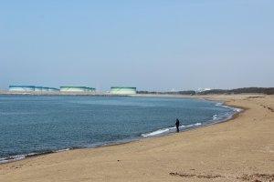 鷹巣海岸は浜住町より東が砂浜、西が磯浜に分かれている。砂浜はキスがよく釣れる