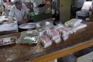Freshly made mochi (rice cakes)