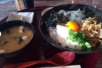 <p>The menu features many dishes with shirasu</p>