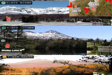 <p>ทัศนียภาพในป่าอุทยานฌิเระโทะโคะ และทะเลสาบทั้งห้าทะเลในสี่ฤดูกาล (ฤดูหนาว ฤดูใบไม้ผลิ ฤดูร้อน ฤดูใบไม้เปลี่ยนสี) ในฤดูที่มีหิมะปกคุลมจะหาชมได้ค่อนข้างยากมากเพราะป่าปิด</p>