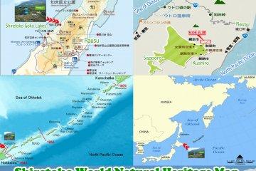 <p>แผนที่แสดง Shiretoko World Natural Heritage และคาบสุมทรฌิเระโทะโคะ อยู่ทางทิศตะวันออกของเกาะฮคไคโดทอดยาวออกไปในทะเลโอคอตสค์ ราว ๖๕ กม. ติดเกาะคุนะฌีร (Kunashir) ของรัสเซีย</p>