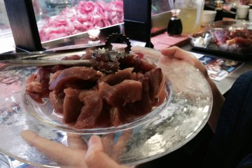 <p>Fresh platter of tuna sashimi to be shared</p>