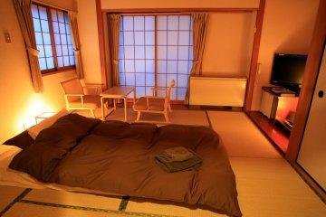 Traditional Japanese tatami-mat bedroom