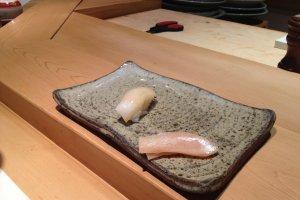 Squid and some white fish nigiri sushi