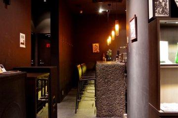 <p>Bar corner in basement of the Shincho Saryo cafe</p>