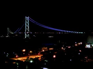 Romantic night view of the lit-up Great Akashi Strait Bridge