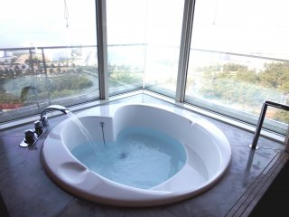 Heart-shaped bathtub in motion...how about a morning bath looking out at the beautiful bridge through a big glass window?