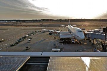 成田機場第一航廈的瞭望台能不被擋住的看見飛機