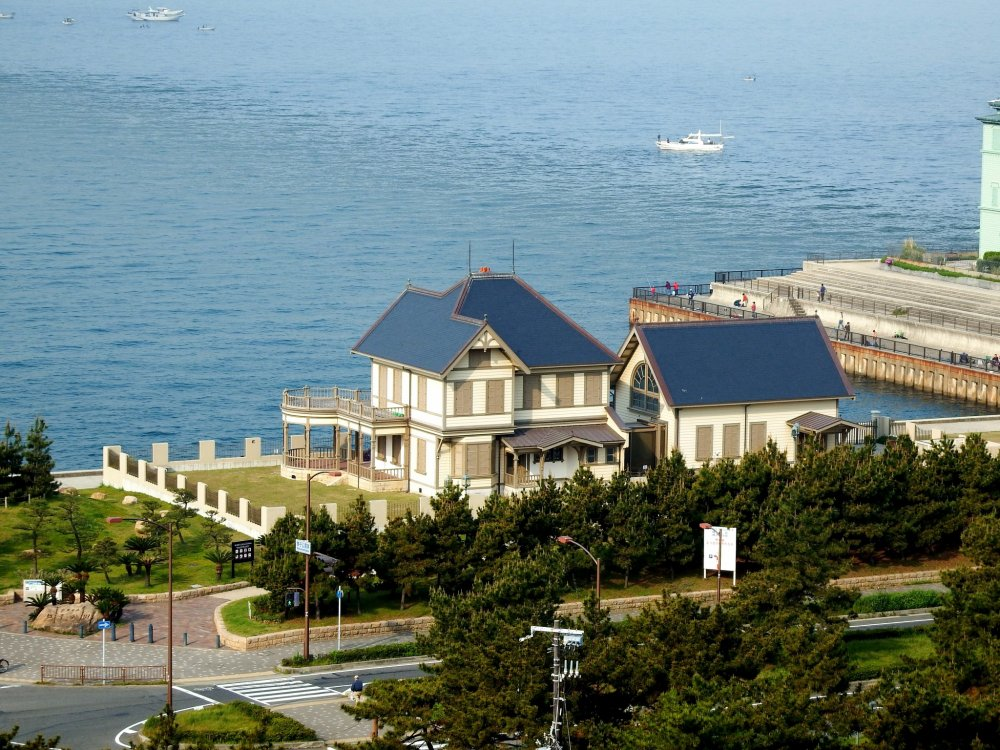 Former Muto Sanji residence viewed from the Seaside Hotel Maiko Villa