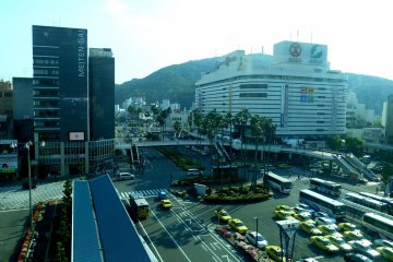 <p>View of Tokushima Station area seen from the Tokushima Station building</p>