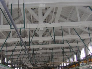 The ceiling of the silk reeling factory