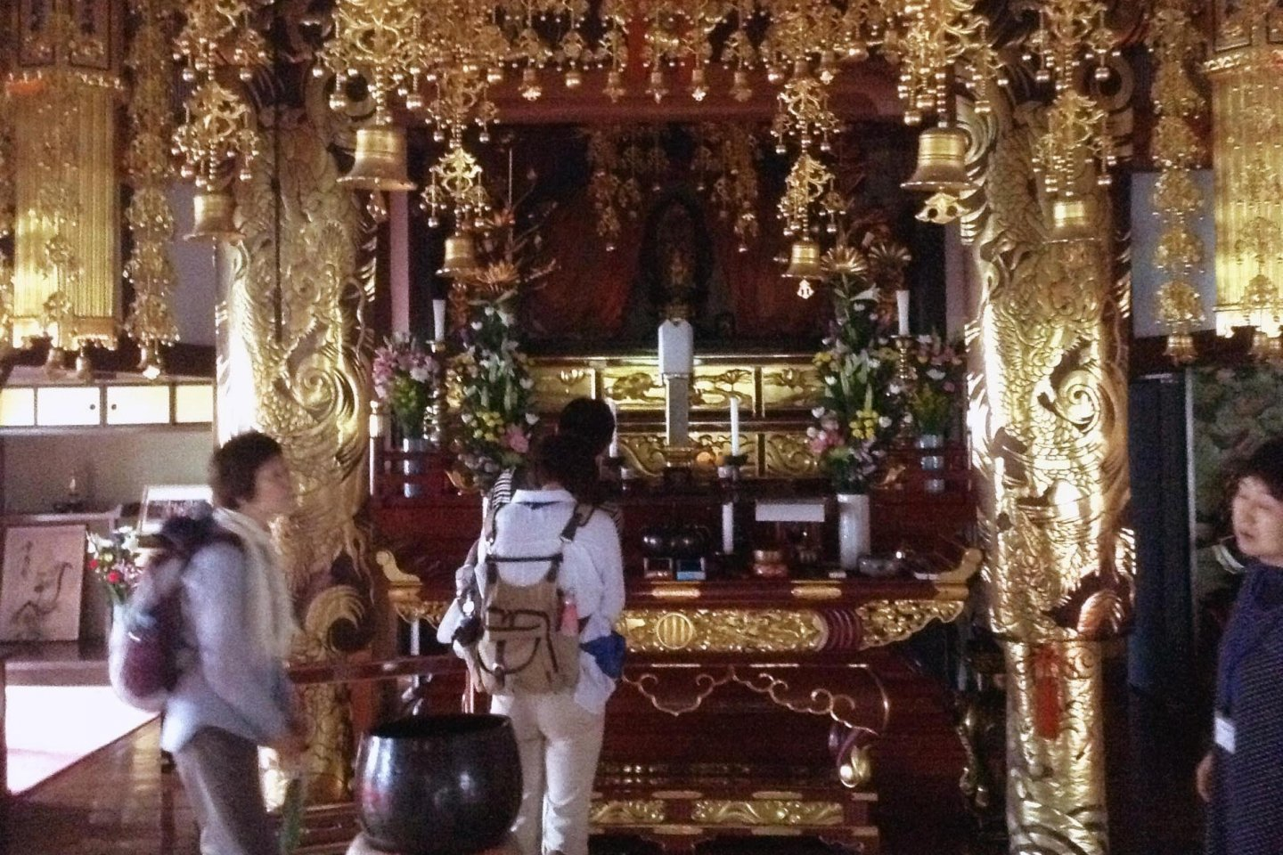 One highlight of the tour was visiting this temple housed in a modern style building, but filled with gorgeous, golden decor