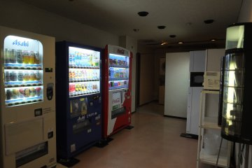 <p>Vending machines (drinks and instant noodles), hot water dispenser and microwave</p>