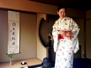 Atsuko the tea master is a lady of grace and humor