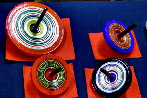 Vivid-colored Kyo Koma (Kyoto Spinning Tops). Beautiful!
