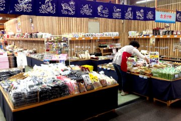 """Dried seafood and local gourmet specialties at theThe Maizuru Port 'Tore Tore"""" Seafood and Fish Markets, which are just a short drive or bus ride from Nishi Maizuru Railway Station."""