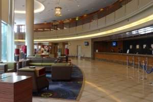 The hotel lobby and the front desk