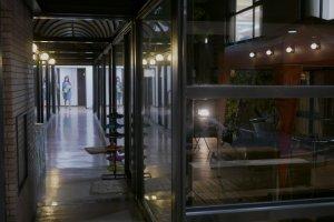 A stylish, modern hallway