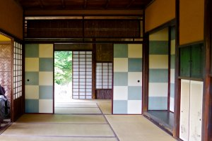 These blue and white checked sliding doors inside the Shokin-tei teahouse symbolize a nearby waterfall
