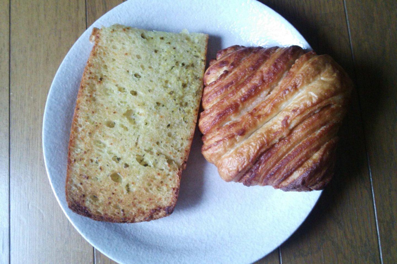 "My favorite: the garlic ciabatta beside the ""European-style"" cinnamon pastry"