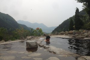 Maguse Onsen and its impressive view.