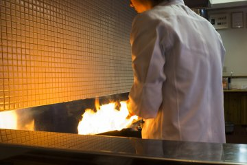 <p>Cooking up a storm at Yokogawa Bun Ten</p>