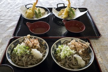 <p>Eating the fruits of my soba-making labour, along with servings of tempura</p>