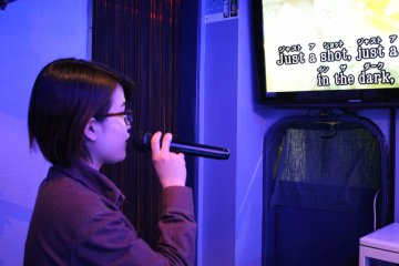 <p>Try your hand at karaoke in English or Japanese after a couple of shots!</p>