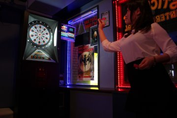 <p>Keep your eye on the bull&#39;s eye(s)! Not recommended after a few pints unless you&#39;re drinking Heineken!</p>